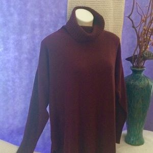 ANN TAYLOR FACTORY BURGUNDY TURTLENECK XL EUC